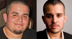 Philip McCluskey of LovingRaw, before and after loosing 200 lbs (half his body weight) on a raw food diet.