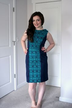 Navy with teal lace, texture-blocked dress