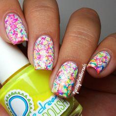 "Neon Multicolor ""Hairspray Marble"" Nails."