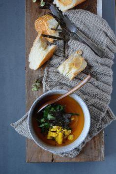 Sweet Potato Soup with Miso Corn