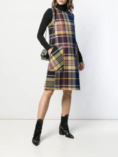 Bottega Veneta plaid shift dress