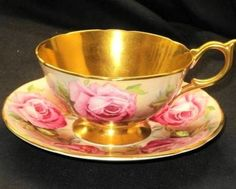 Aynsley Plenti Rose Roses FULL GOLD Tea cup and saucer Teacup