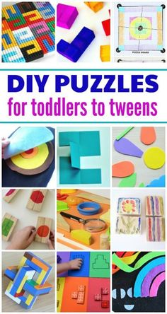 There is more to puzzles than jigsaws. Kids will love these make your own puzzles. Creative and fun DIY ideas ranging from toddlers to tweens. Toddler Preschool, Toddler Crafts, Toddler Snacks, Toddler Fun, Toddler Toys, Make Your Own Game, Make Your Own Puzzle, How To Make, Puzzles For Toddlers