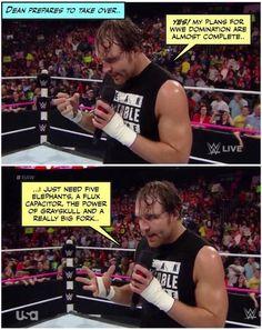 CREDIT JENJ@FOREVER_AMBROSE Dean Ambrose Funny, Wwe Dean Ambrose, Wwe Funny, Funny Memes, Hilarious, Funny Pics, Wrestling Memes, Cody Rhodes, I Just Dont Care