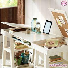 çalışma masası çocuk - Google'da Ara Trestle Legs, Trestle Table, Buero, Cork Boards, Desk Storage, Hidden Storage, Hidden Desk, Pottery Barn Teen Desk, Office Furniture