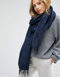 Pieces Woven Scarf with Tassels in Navy on Shopstyle.