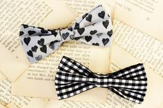 How to Make a Bow Tie (clip on)! Probably could stitch on a pin or clip instead to make accessories to put in hair or clothes...  (^o^)
