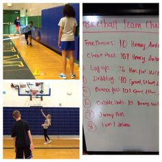 PE Basketball Idea: 8 Station Team Challenge! Two of the stations: Top is dribbling and bottom is lay ups.