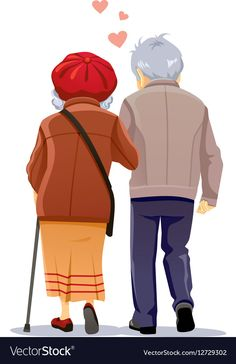 14 Illustrators Share Their Top Tips for Emerging ArtistsShare Old Couple In Love, Couple Art, Old Couples, Couples In Love, Paar Illustration, Walk Together, Growing Old Together, Grands Parents, Couple Cartoon