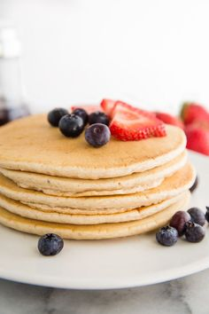 Vegan Pancakes-Easy Vegan Pancakes Recipe can be whipped together in just 10 minutes and makes for the perfect vegan breakfast! They freeze well which makes them perfect for meal prep.