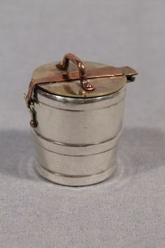Old Very Small Travelling, Traveller Inkwell, Metal Plated Body & Brass, Cooper
