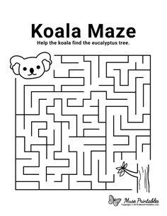 Free Printable Koala Maze