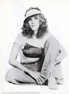 Stevie ~ ☆♥❤♥☆ ~ looking super elegant and sporty, wearing a 'Welcome to the Hotel California t-shirt; 1977