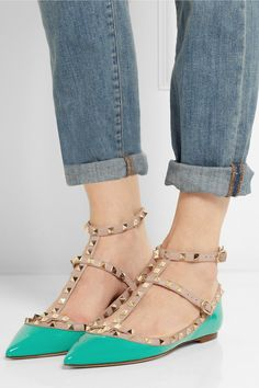 Valentino | Rockstud patent-leather point-toe flats | NET-A-PORTER.COM
