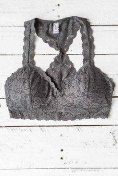 4a87e4bc31 Charcoal Lacy Deep V Racerback Bralette Layered Look