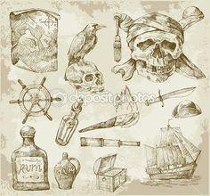 coleção pirata — Ilustração de Stock #9381637