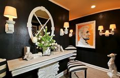DC Design House Second Floor Foyer embossed croc leather vinyl wallpaper black walls
