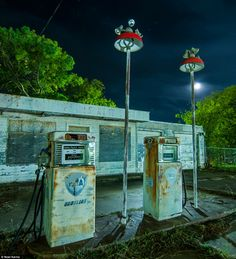 Tripping through the American night a photographer's eerie collection Abandoned gas station on the edge of Mineral Wells, Texas: It is dark with a moon, ambient light of all kinds from several directions, C. Old Buildings, Abandoned Buildings, Abandoned Places, Abandoned Vehicles, Old Gas Pumps, Vintage Gas Pumps, Monuments, Mineral Wells, Old Gas Stations