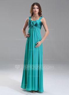 Maternity Bridesmaid Dresses - $119.99 - Empire Sweetheart Floor-Length Chiffon Charmeuse Maternity Bridesmaid Dress With Ruffle Flower(s) (045022487) http://jjshouse.com/Empire-Sweetheart-Floor-Length-Chiffon-Charmeuse-Maternity-Bridesmaid-Dress-With-Ruffle-Flower-S-045022487-g22487?ver=n1ug2t&ves=k41wn