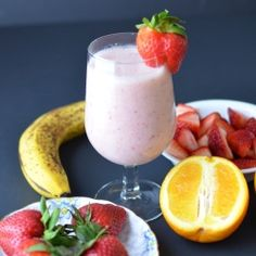 Strawberry Smoothie: 1 ripe banana (fresh or frozen), 1 cup strawberries ( fresh or frozen), 1 cup almond milk, 1 teaspoon  honey, 6 ice cubes and 1/4 cup orange juice (optional). Place all ingredients in a blender and blend until smooth and creamy.