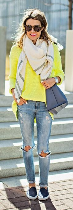 Hello Fashion - Neon Sweater with Bright Scarf and Distressed Skinny Jeans, Navy Slip Flats and Royal Handbag.