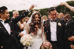 Confetti Long haired brunette bride Dress by Suzanne Neville Sudeley Castle Wedding Photography Image by ARJ Photography Wedding Shoot, Wedding Couples, Dream Wedding, Wedding Dresses, Church Wedding, Wedding Ceremony, Romantic Wedding Photos, Wedding Pictures, Elegant Wedding