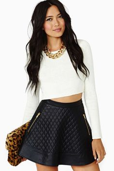 Winter. Leather skirt. crop top sweater. Nasty Gal.