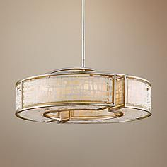 "Corbett Kyoto Collection 44"" Wide Silver Leaf Pendant Light"