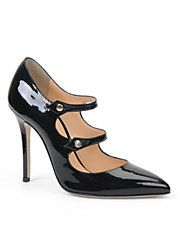#CarmenMarcValvo patent leather #pumps with a pointy toe & dual snap straps.