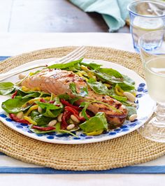Grilled Salmon with White Bean, Sun-Dried Tomato and Spinach Salad #healthy #salad