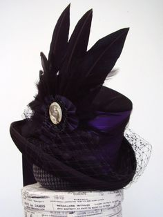 Nevermore!  Nevermore!  Purple Raven steampunk Neo Victorian Top Hat Lady by Blackpin, $221.50