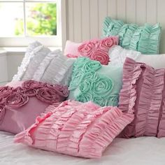 Ruffle Rose Pillows---DIY by icansew
