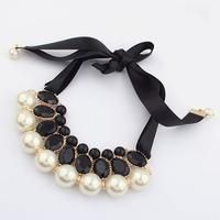 Fashion Western statement elegant imitation Pearls Candy Color choker Pendant