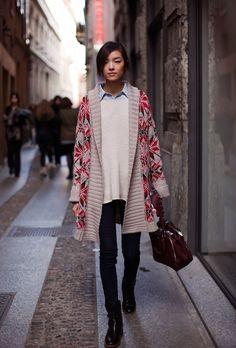 exPress-o: Autumn Trend: Fair Isle Sweaters Fashion Male, Look Fashion, Korean Fashion, Fashion Trends, Net Fashion, Ladies Fashion, Street Fashion, Fashion Models, Maxi Cardigan