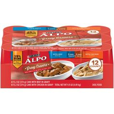 It's so wonderful to have this delivered to your door!!! Purina ALPO Gravy Cravers Beef & Chicken Variety Pack Adult Wet Dog Food - (12) 13.2 oz. Cans: Canned Wet Pet Food: Pet Supplies: Amazon.com