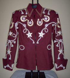 Burgundy cowboy shirt.