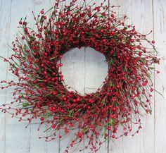 Christmas Wreath - Winter Wreath - Home Decor - Red Berry Wreath - Seasonal Wreath - Cabin Decor - Valentine Wreath by Designawreath on Etsy