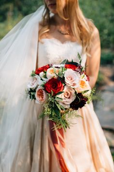 173 best bridal bouquets images on pinterest in 2018 floral beautiful bridal bouquet with burgundy dahlias astrantia and peach champagne red roses with mightylinksfo