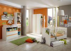 Babyzimmer komplett Bibi 7118. Buy now at https://www.moebel-wohnbar.de/kinderzimmer-bibi-babyzimmer-komplett-7-teilig-weiss-orange-7118.html