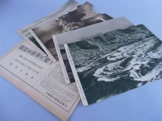vintage Japanese photo print scenery Japan mountain sea national park volcanic smoke river