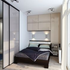 Contemporary bedroom Apartment - 20 Sleek Contemporary Bedroom Designs For Your New Home Small Apartment Bedrooms, Apartment Bedroom Decor, Small Rooms, Small Apartments, Small Spaces, Bedroom Furniture, Studio Apartments, Apartment Furniture, Small Bedroom Designs