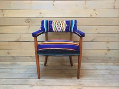 Midcentury Club Chair Upholstered in Blue Mexican by chezboheme, $525.00