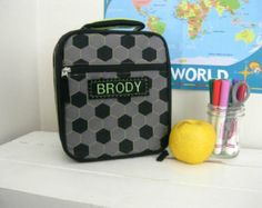 Children's Lunch Bag Personalized Pottery Barn  -- Green Soccer Childrens Lunch Bags, Soccer Boys, World Cup 2014, Pottery Barn, Green, Handmade, House, Etsy, Hand Made