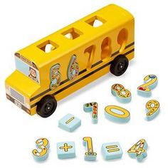 Melissa & Doug® Number Matching Math Bus - Educational Toy With 10 Numbers, 3 Math Symbols, and 5 Double-Sided Cards : Target