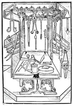 "Surgical instruments. From ""Buch der Chirurgie"", 1497 - Hieronymus Brunschwig (ca. 1450 – ca. 1512 pinterest.com/pin/287386019946599497/)."
