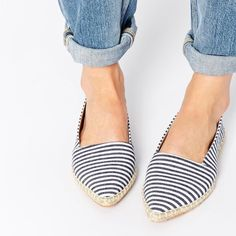 Striped espadrilles flats NEW! Navy and white striped espadrilles. Flats with a pointed toe.                                                                    ❌No trades ❌No lowballing Shoes Espadrilles