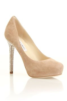Jimmy Choo Silky Pump In Nude with a Sparkle Heel.