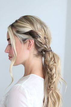 Triple braid pony {tutorial by The Glitter Guide}