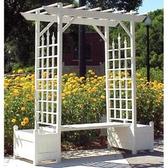 Have to have it. Dura-Trel 7-ft. Rectangle Vinyl Camelot Pergola Arbor with Bench