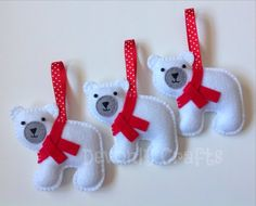 These cute felt polar bears are designed and hand stitched by Devonly Crafts, England. Each polar bear is made with acrylic felt and is wearing